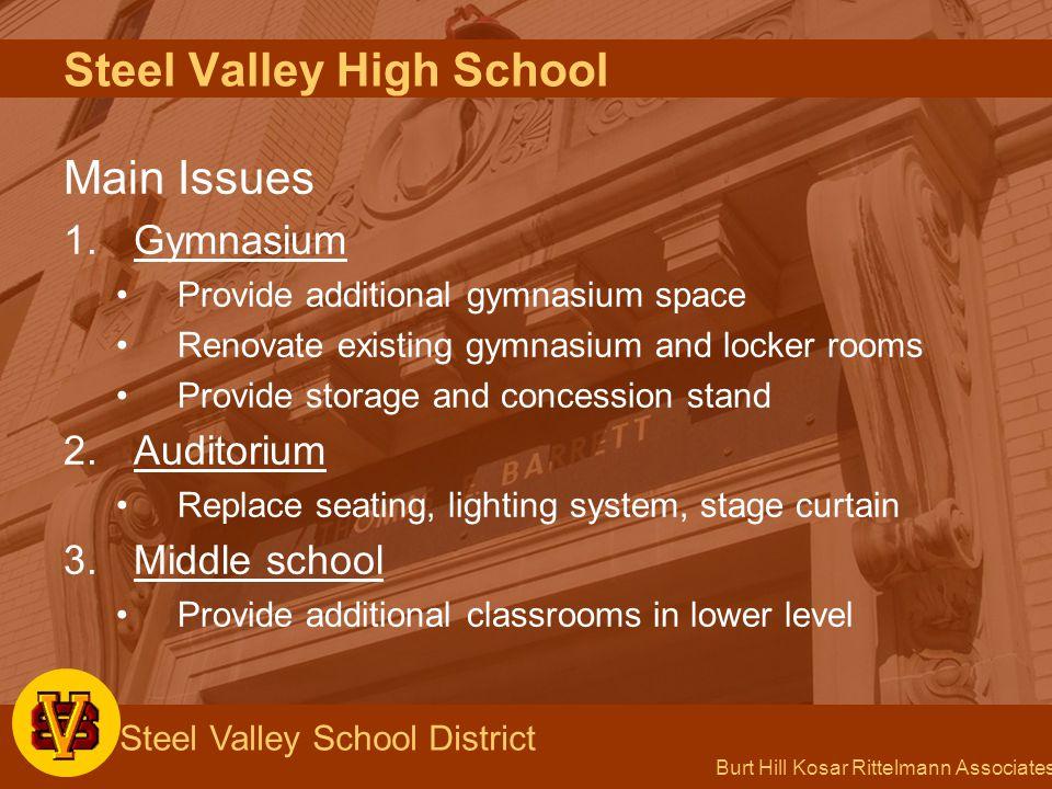 Burt Hill Kosar Rittelmann Associates Steel Valley School District Main Issues 1.Gymnasium Provide additional gymnasium space Renovate existing gymnas