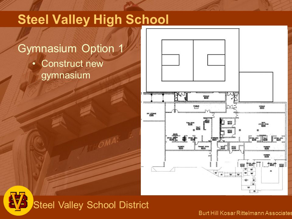 Burt Hill Kosar Rittelmann Associates Steel Valley School District Steel Valley High School Gymnasium Option 1 Construct new gymnasium