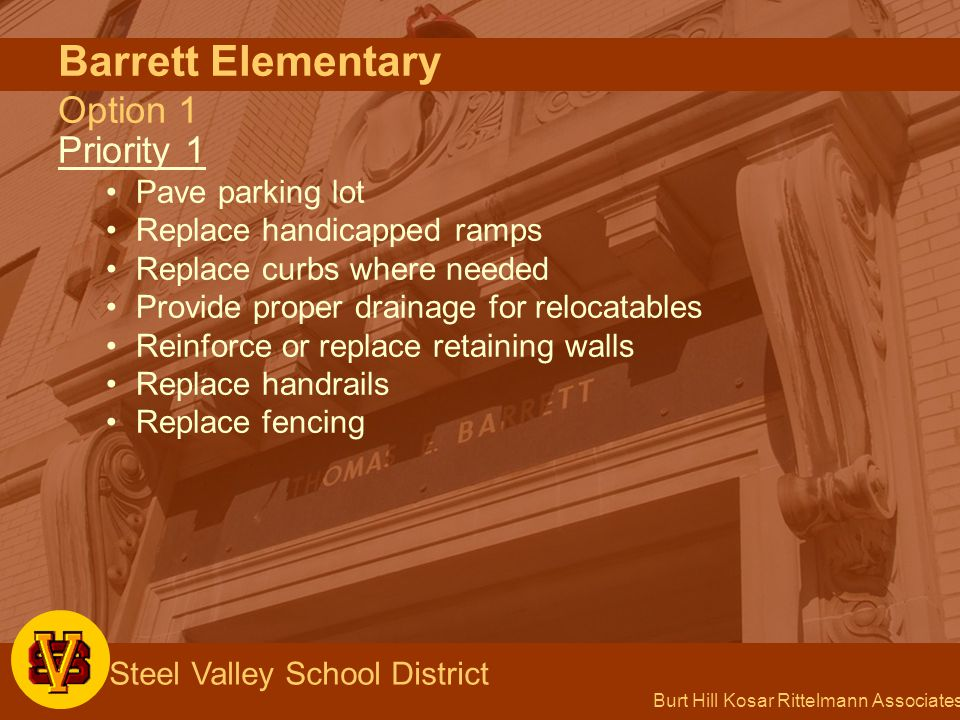 Burt Hill Kosar Rittelmann Associates Steel Valley School District Barrett Elementary Option 1 Priority 1 Pave parking lot Replace handicapped ramps Replace curbs where needed Provide proper drainage for relocatables Reinforce or replace retaining walls Replace handrails Replace fencing