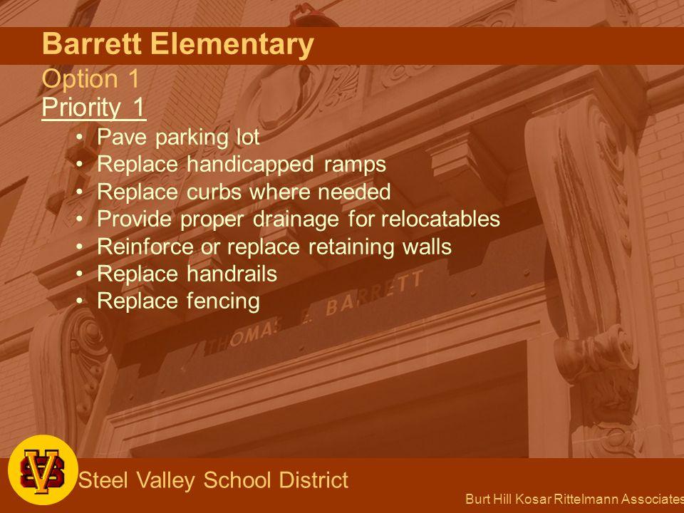 Burt Hill Kosar Rittelmann Associates Steel Valley School District Barrett Elementary Option 1 Priority 1 Pave parking lot Replace handicapped ramps R