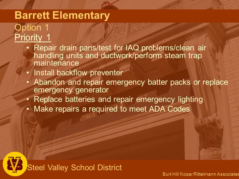 Burt Hill Kosar Rittelmann Associates Steel Valley School District Barrett Elementary Option 1 Priority 1 Repair drain pans/test for IAQ problems/clean air handling units and ductwork/perform steam trap maintenance Install backflow preventer Abandon and repair emergency batter packs or replace emergency generator Replace batteries and repair emergency lighting Make repairs a required to meet ADA Codes