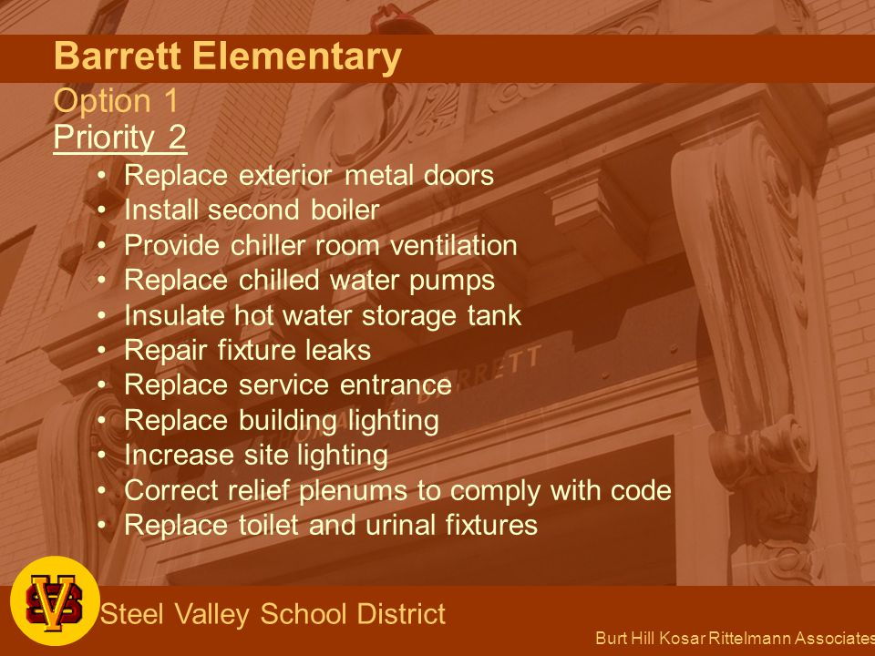 Burt Hill Kosar Rittelmann Associates Steel Valley School District Barrett Elementary Option 1 Priority 2 Replace exterior metal doors Install second boiler Provide chiller room ventilation Replace chilled water pumps Insulate hot water storage tank Repair fixture leaks Replace service entrance Replace building lighting Increase site lighting Correct relief plenums to comply with code Replace toilet and urinal fixtures