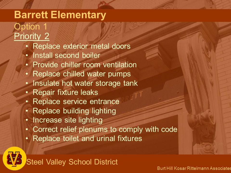 Burt Hill Kosar Rittelmann Associates Steel Valley School District Barrett Elementary Option 1 Priority 2 Replace exterior metal doors Install second