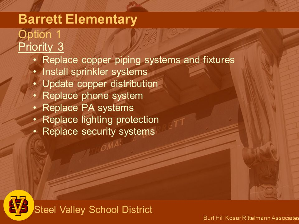 Burt Hill Kosar Rittelmann Associates Steel Valley School District Barrett Elementary Option 1 Priority 3 Replace copper piping systems and fixtures Install sprinkler systems Update copper distribution Replace phone system Replace PA systems Replace lighting protection Replace security systems