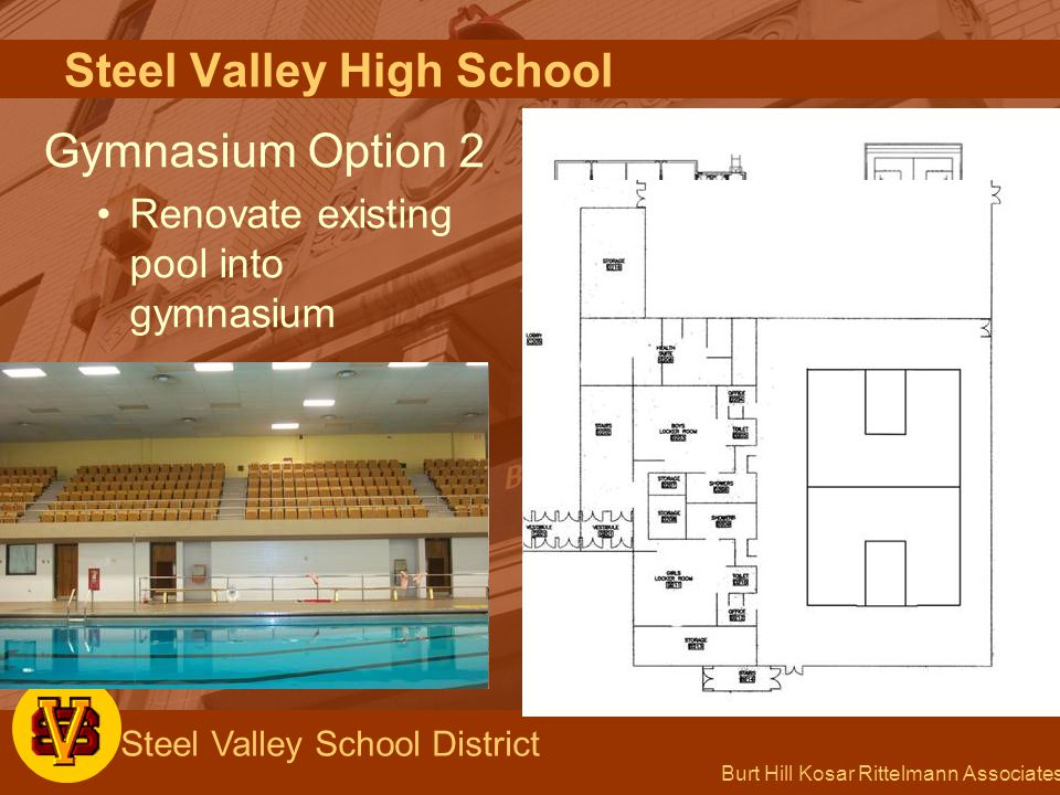 Burt Hill Kosar Rittelmann Associates Steel Valley School District Steel Valley High School Gymnasium Option 2 Renovate existing pool into gymnasium