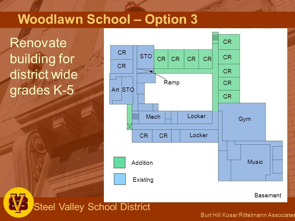 Burt Hill Kosar Rittelmann Associates Steel Valley School District Woodlawn School – Option 3 Renovate building for district wide grades K-5 CR STO Ra