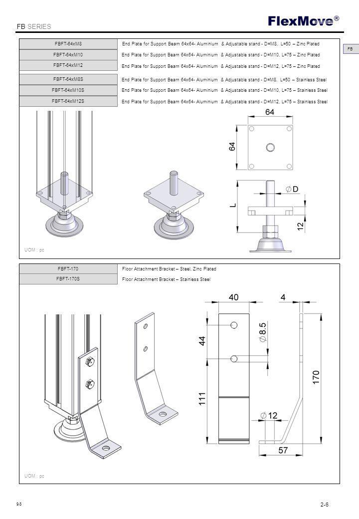 FlexMove FB SERIES FBFT-80A UOM : pc FBFT-80B Foot For Support Beam 80x80 – Steel, Powder Coating UOM : pc FB 2-7 9.8 354 Kč <30 ks