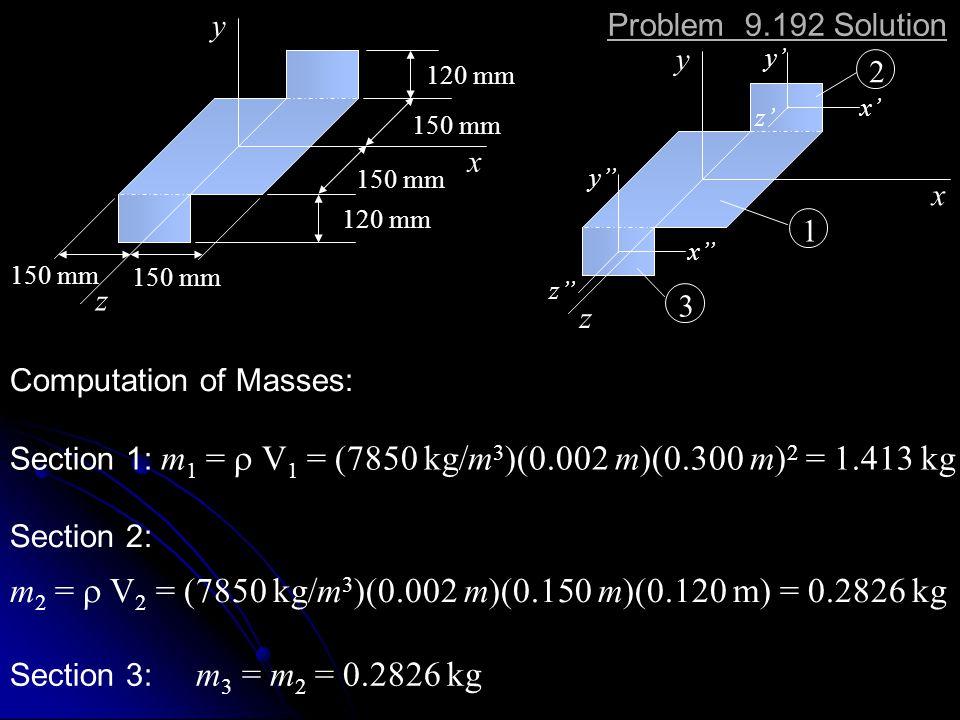 x y z 120 mm 150 mm 120 mm 150 mm x y z x y z y x z 2 1 3 Computation of Masses: Section 1: m 1 = V 1 = (7850 kg/m 3 )(0.002 m)(0.300 m) 2 = 1.413 kg