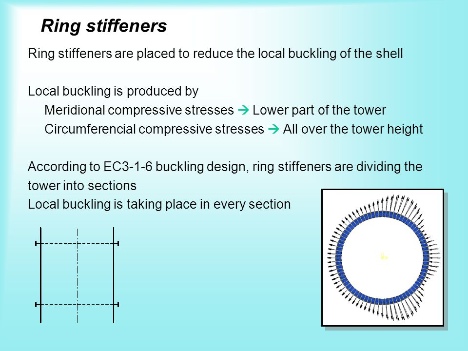 Ring stiffeners Ring stiffeners are placed to reduce the local buckling of the shell Local buckling is produced by Meridional compressive stresses Low