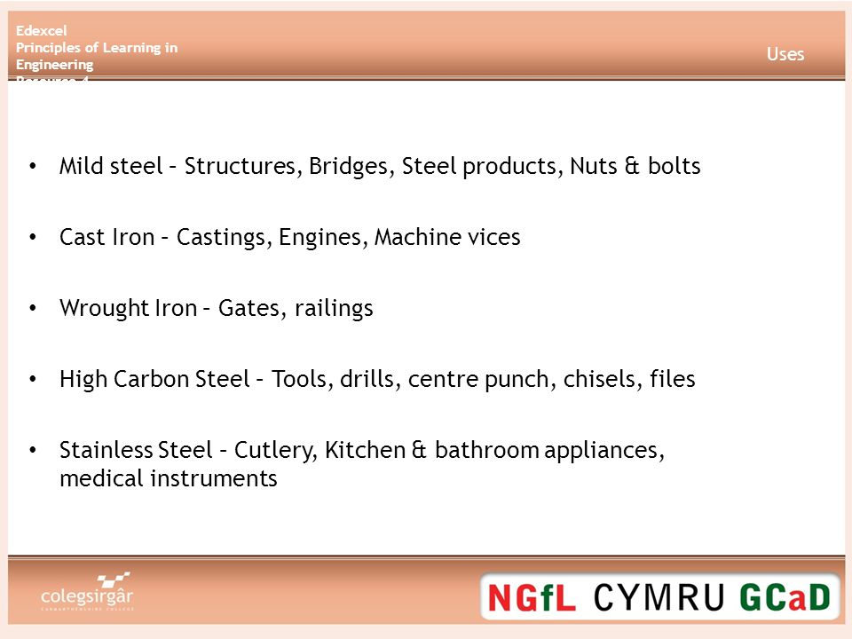 Edexcel Principles of Learning in Engineering Resource 4 Non Ferrous Metals Copper Brass Lead Aluminium Silver Gold Zinc