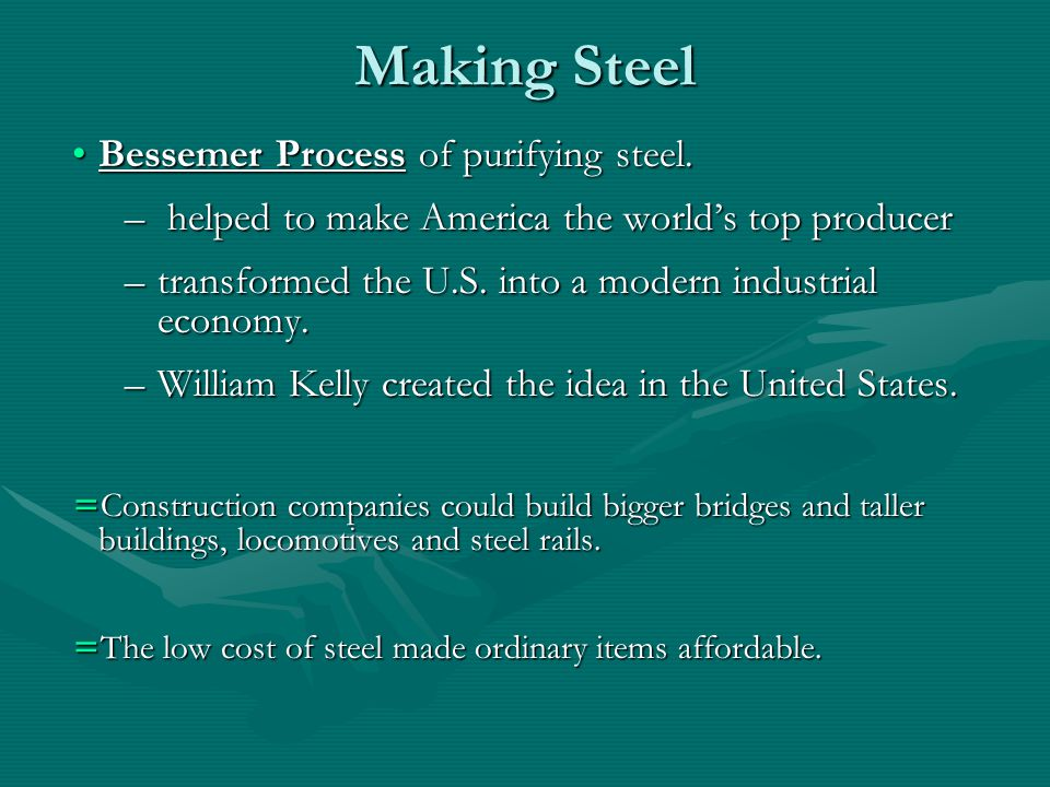 Making Steel Bessemer Process of purifying steel.Bessemer Process of purifying steel.
