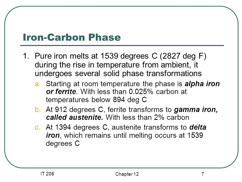 IT 208 Chapter 12 18 Hardness Is a function of the Carbon content of the steel.