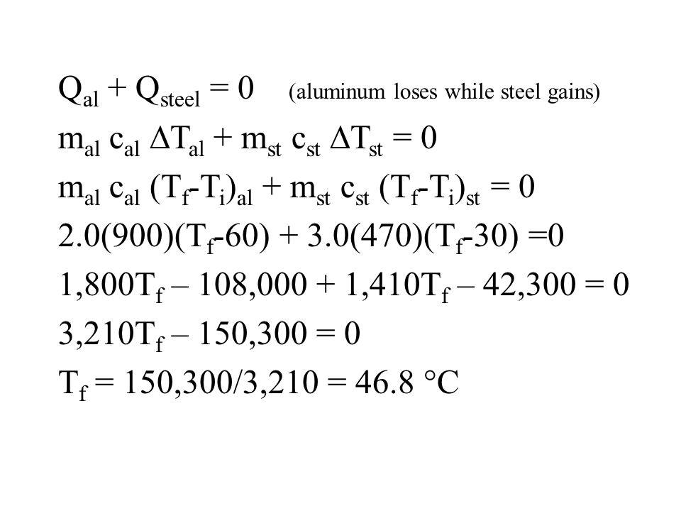 Q al + Q steel = 0 (aluminum loses while steel gains) m al c al T al + m st c st T st = 0 m al c al (T f -T i ) al + m st c st (T f -T i ) st = 0 2.0(