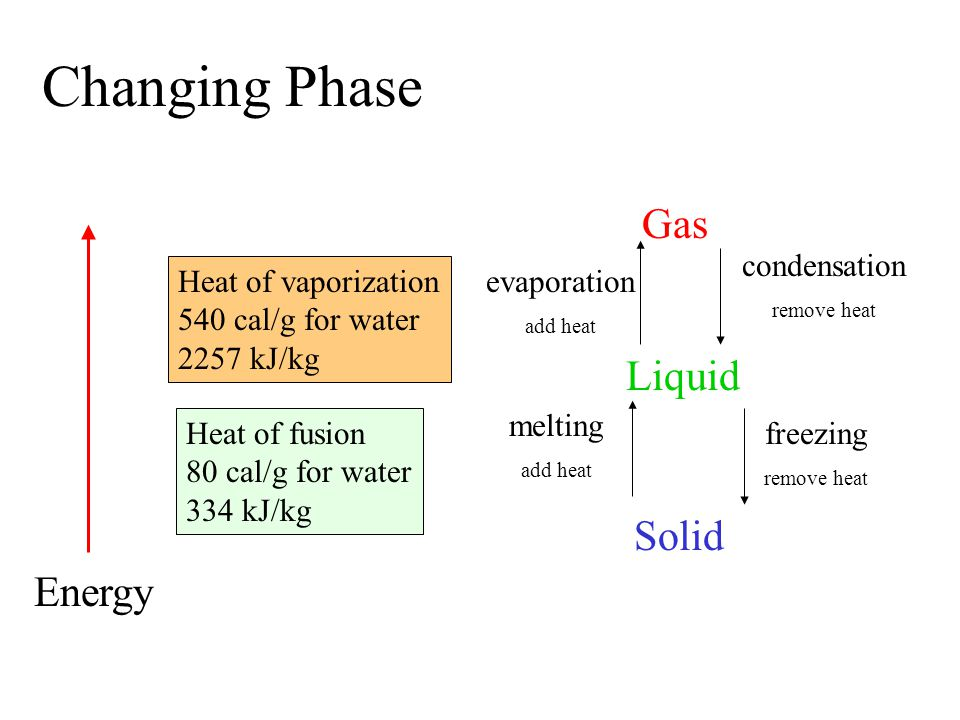 Changing Phase Gas Liquid Solid Energy melting add heat freezing remove heat evaporation add heat condensation remove heat Heat of fusion 80 cal/g for