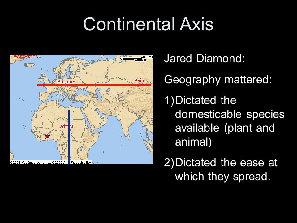 Continental Axis Jared Diamond: Geography mattered: 1)Dictated the domesticable species available (plant and animal) 2)Dictated the ease at which they