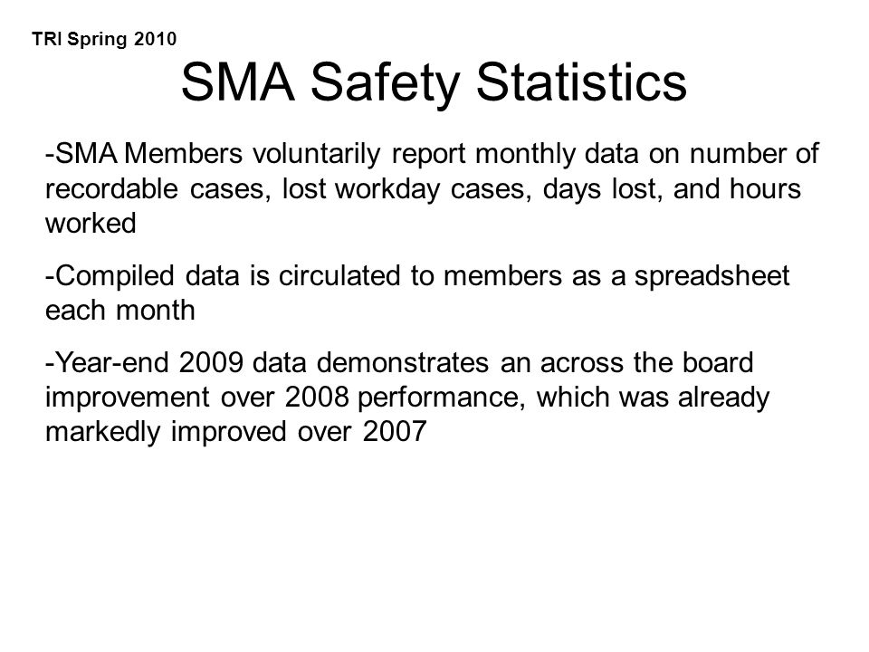 SMA Safety Statistics -SMA Members voluntarily report monthly data on number of recordable cases, lost workday cases, days lost, and hours worked -Compiled data is circulated to members as a spreadsheet each month -Year-end 2009 data demonstrates an across the board improvement over 2008 performance, which was already markedly improved over 2007 TRI Spring 2010