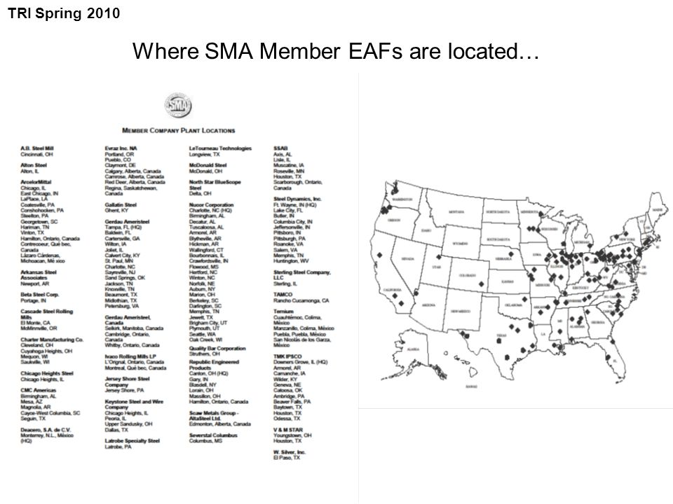 Where SMA Member EAFs are located… TRI Spring 2010