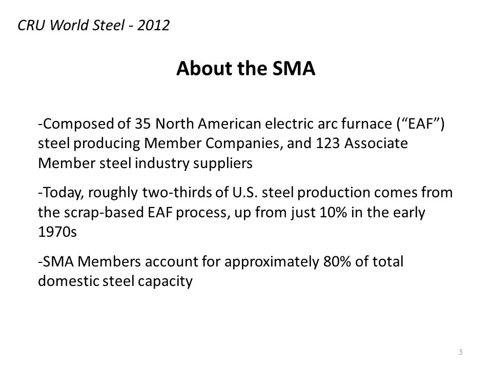 About the SMA -Composed of 35 North American electric arc furnace (EAF) steel producing Member Companies, and 123 Associate Member steel industry suppliers -Today, roughly two-thirds of U.S.