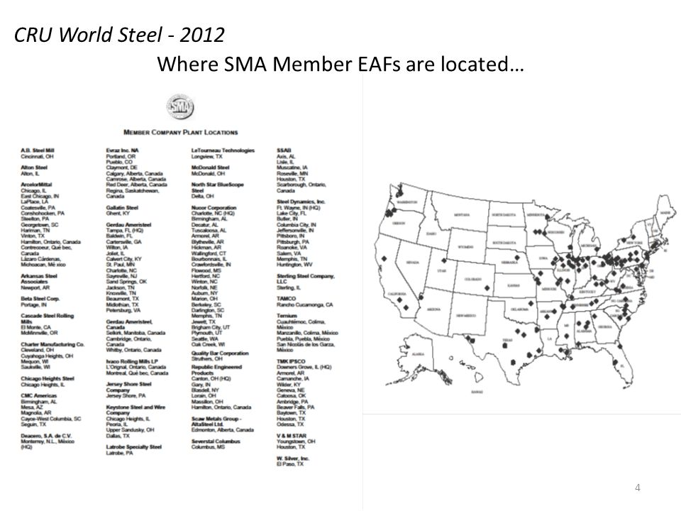 Where SMA Member EAFs are located… CRU World Steel - 2012 4