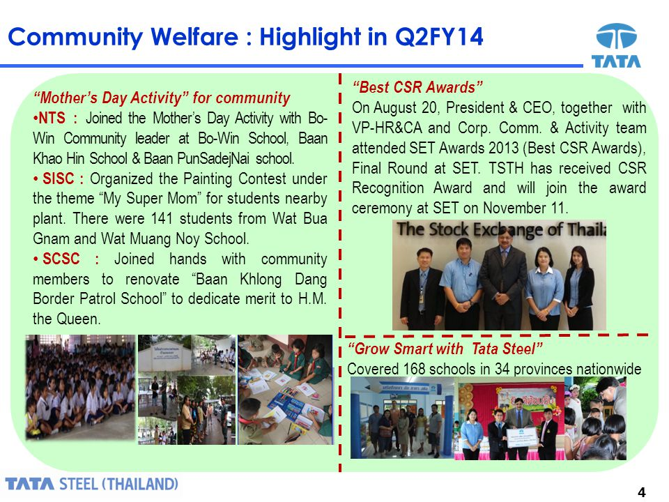 4 Community Welfare : Highlight in Q2FY14 Best CSR Awards On August 20, President & CEO, together with VP-HR&CA and Corp.