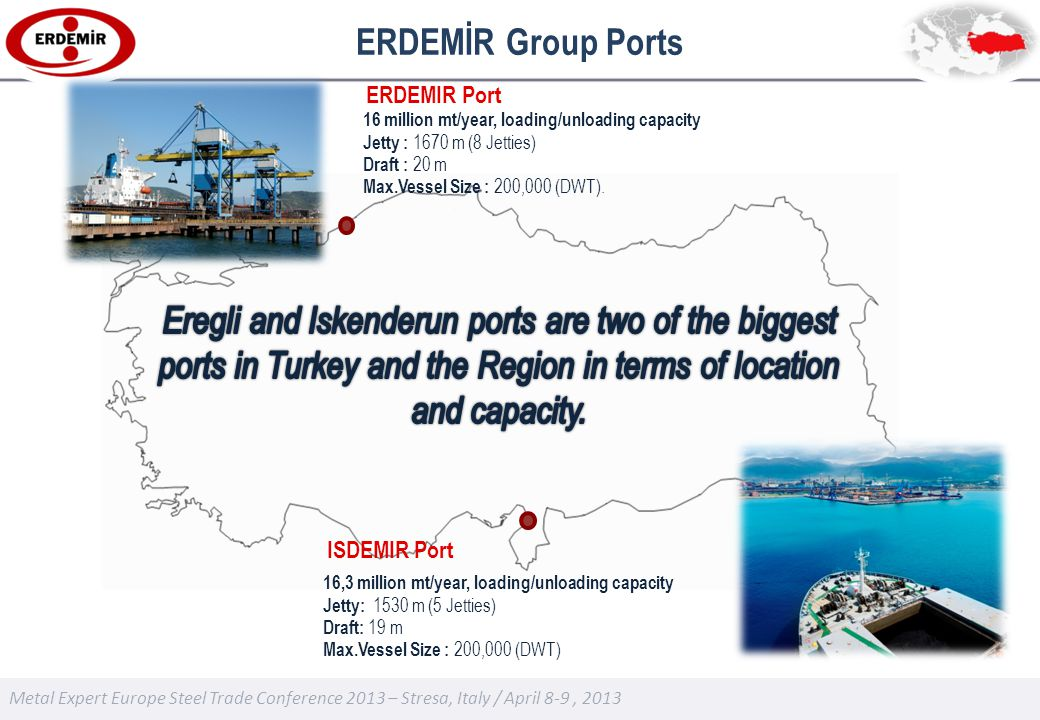 Metal Expert Europe Steel Trade Conference 2013 – Stresa, Italy / April 8-9, 2013 ERDEMİR Group Ports 16 million mt/year, loading/unloading capacity Jetty : 1670 m (8 Jetties) Draft : 20 m Max.Vessel Size : 200,000 (DWT).