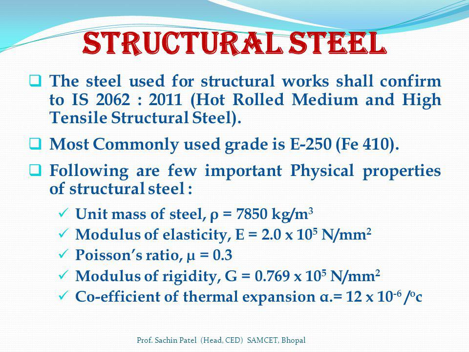 Structural Steel The steel used for structural works shall confirm to IS 2062 : 2011 (Hot Rolled Medium and High Tensile Structural Steel). Most Commo