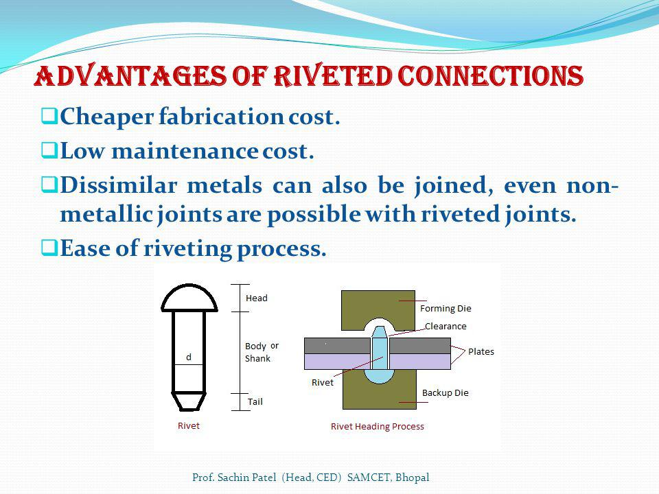Advantages of Riveted connections Cheaper fabrication cost. Low maintenance cost. Dissimilar metals can also be joined, even non- metallic joints are
