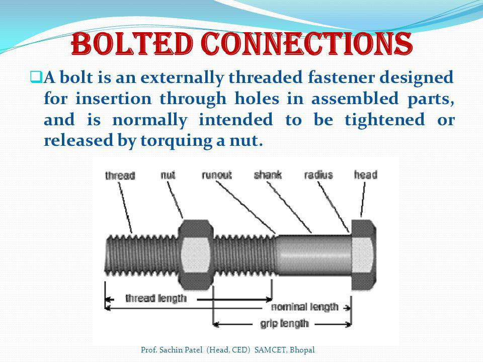 Bolted Connections A bolt is an externally threaded fastener designed for insertion through holes in assembled parts, and is normally intended to be t