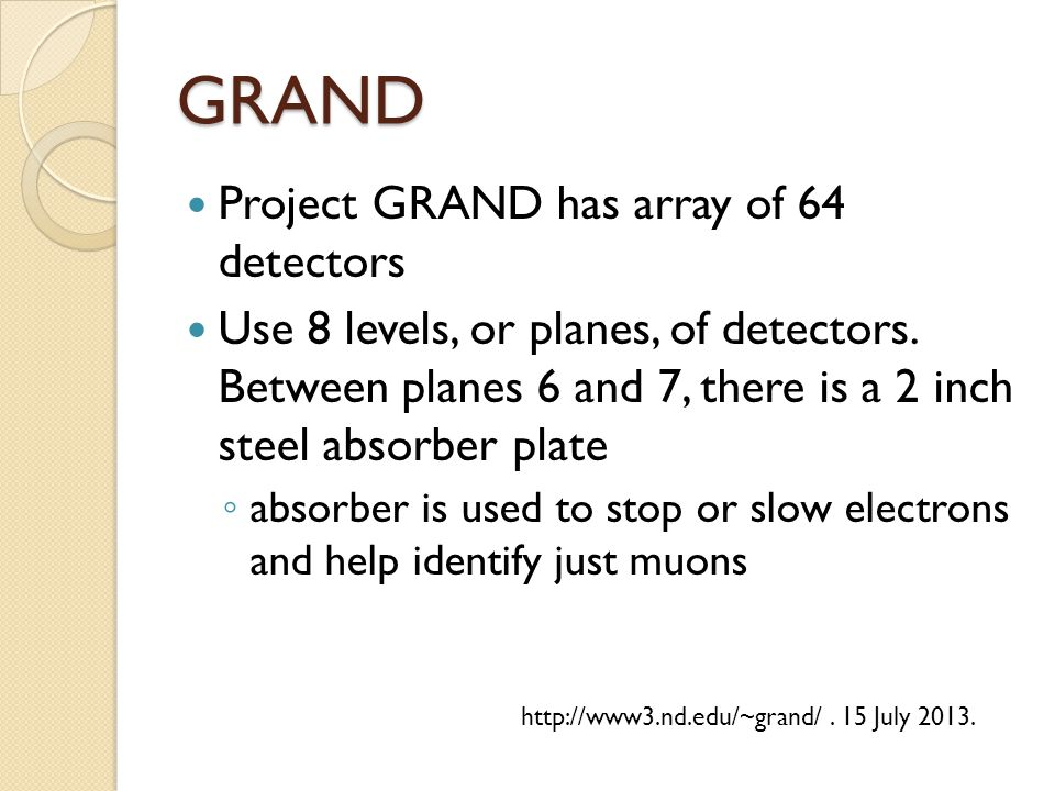 GRAND Project GRAND has array of 64 detectors Use 8 levels, or planes, of detectors.