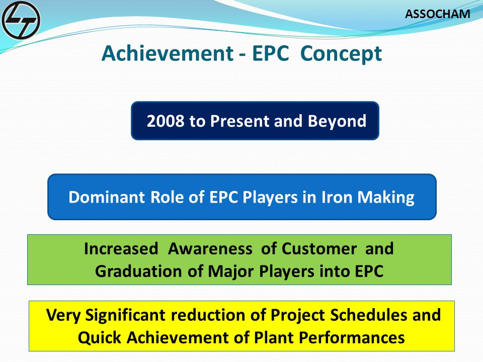 ASSOCHAM Achievement - EPC Concept Dominant Role of EPC Players in Iron Making 2008 to Present and Beyond Very Significant reduction of Project Schedules and Quick Achievement of Plant Performances Increased Awareness of Customer and Graduation of Major Players into EPC