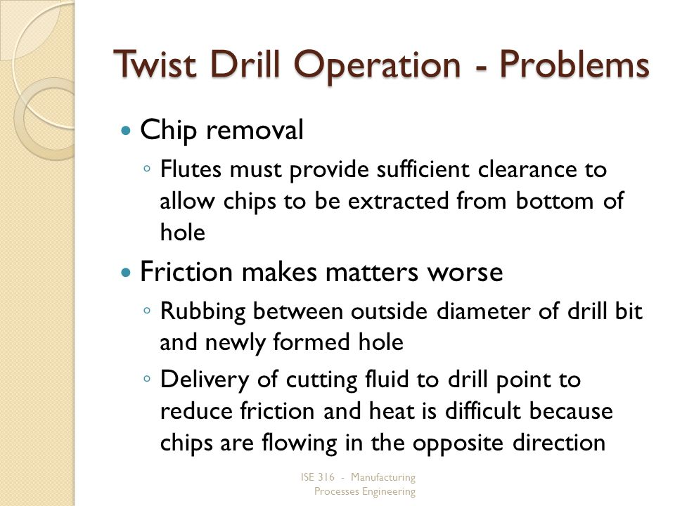 ISE 316 - Manufacturing Processes Engineering Twist Drill Operation - Problems Chip removal Flutes must provide sufficient clearance to allow chips to be extracted from bottom of hole Friction makes matters worse Rubbing between outside diameter of drill bit and newly formed hole Delivery of cutting fluid to drill point to reduce friction and heat is difficult because chips are flowing in the opposite direction