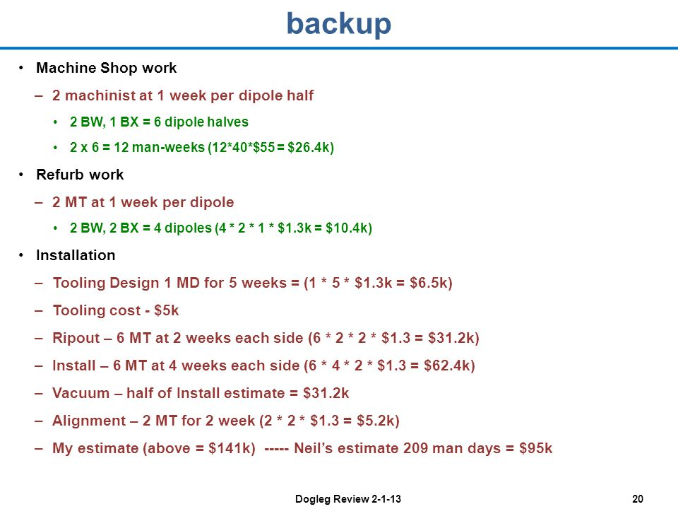 Dogleg Review 2-1-1320 backup Machine Shop work –2 machinist at 1 week per dipole half 2 BW, 1 BX = 6 dipole halves 2 x 6 = 12 man-weeks (12*40*$55 = $26.4k) Refurb work –2 MT at 1 week per dipole 2 BW, 2 BX = 4 dipoles (4 * 2 * 1 * $1.3k = $10.4k) Installation –Tooling Design 1 MD for 5 weeks = (1 * 5 * $1.3k = $6.5k) –Tooling cost - $5k –Ripout – 6 MT at 2 weeks each side (6 * 2 * 2 * $1.3 = $31.2k) –Install – 6 MT at 4 weeks each side (6 * 4 * 2 * $1.3 = $62.4k) –Vacuum – half of Install estimate = $31.2k –Alignment – 2 MT for 2 week (2 * 2 * $1.3 = $5.2k) –My estimate (above = $141k) ----- Neils estimate 209 man days = $95k