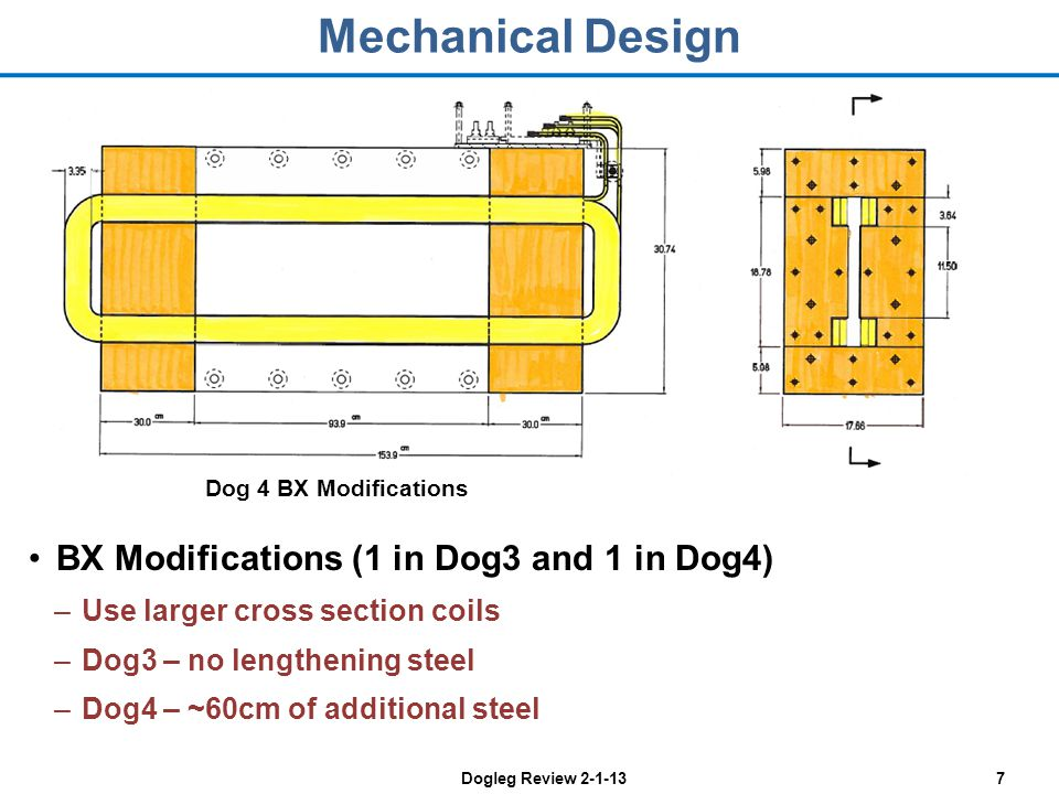 Dogleg Review 2-1-137 Mechanical Design BX Modifications (1 in Dog3 and 1 in Dog4) –Use larger cross section coils –Dog3 – no lengthening steel –Dog4 – ~60cm of additional steel Dog 4 BX Modifications