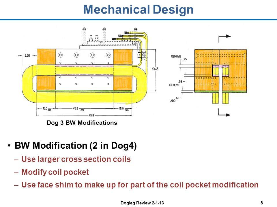 Dogleg Review 2-1-138 Mechanical Design BW Modification (2 in Dog4) –Use larger cross section coils –Modify coil pocket –Use face shim to make up for part of the coil pocket modification Dog 3 BW Modifications
