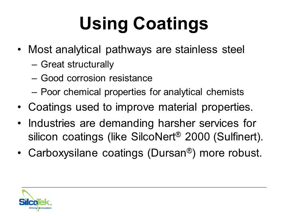 Using Coatings Most analytical pathways are stainless steel –Great structurally –Good corrosion resistance –Poor chemical properties for analytical ch