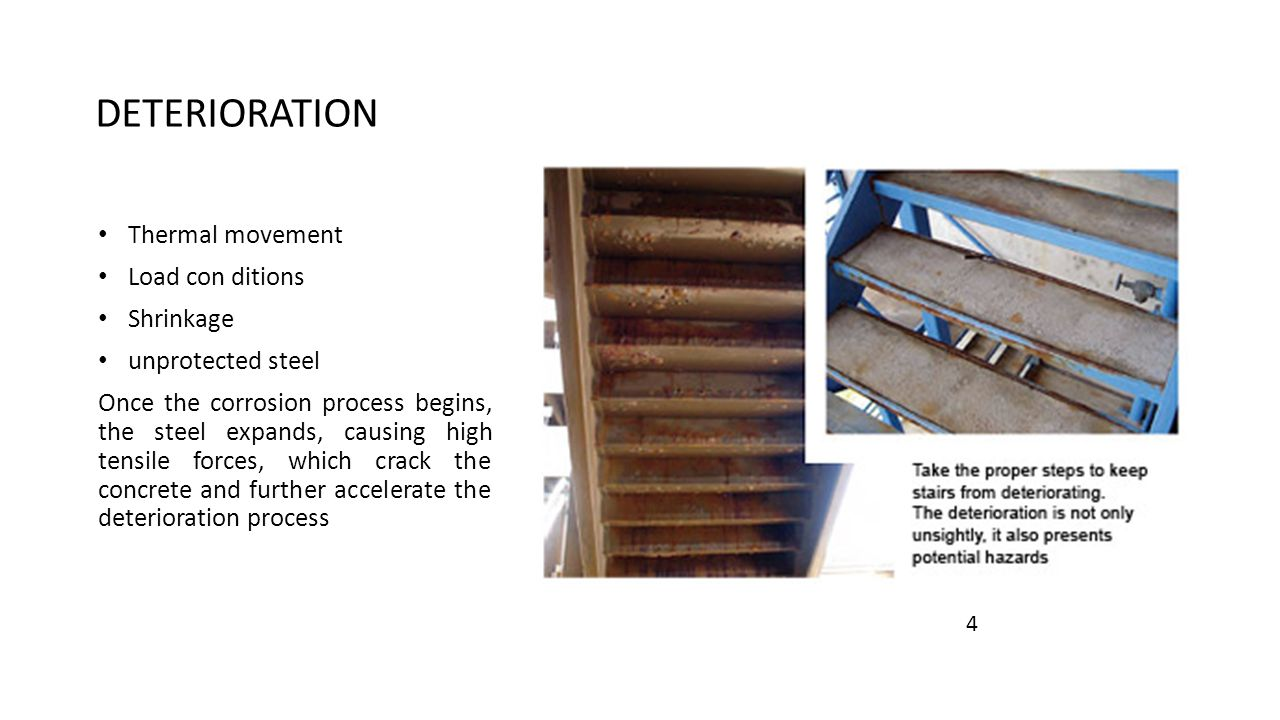 REPAIR OPTIONS Installation of supplemental steel where corrosion has deteriorated the steel and caused cross sectional loss of the steel pan section, stringer or supports Re-weld failed welds on metal pans, support angles and hand railings Sandblast and priming of any metal that exhibits corrosion or rusting Replacement of concrete in the metal stair pans Painting of all metal sections of the stair tower metal pan stairs-replacement of treads metal pan stairs – replacement with precast stairs 4