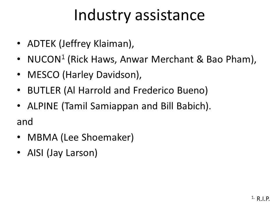 Industry assistance ADTEK (Jeffrey Klaiman), NUCON 1 (Rick Haws, Anwar Merchant & Bao Pham), MESCO (Harley Davidson), BUTLER (Al Harrold and Frederico Bueno) ALPINE (Tamil Samiappan and Bill Babich).