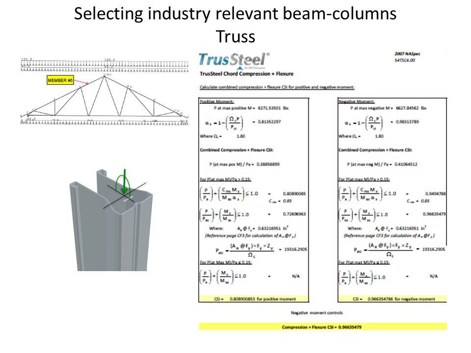Selecting industry relevant beam-columns Truss