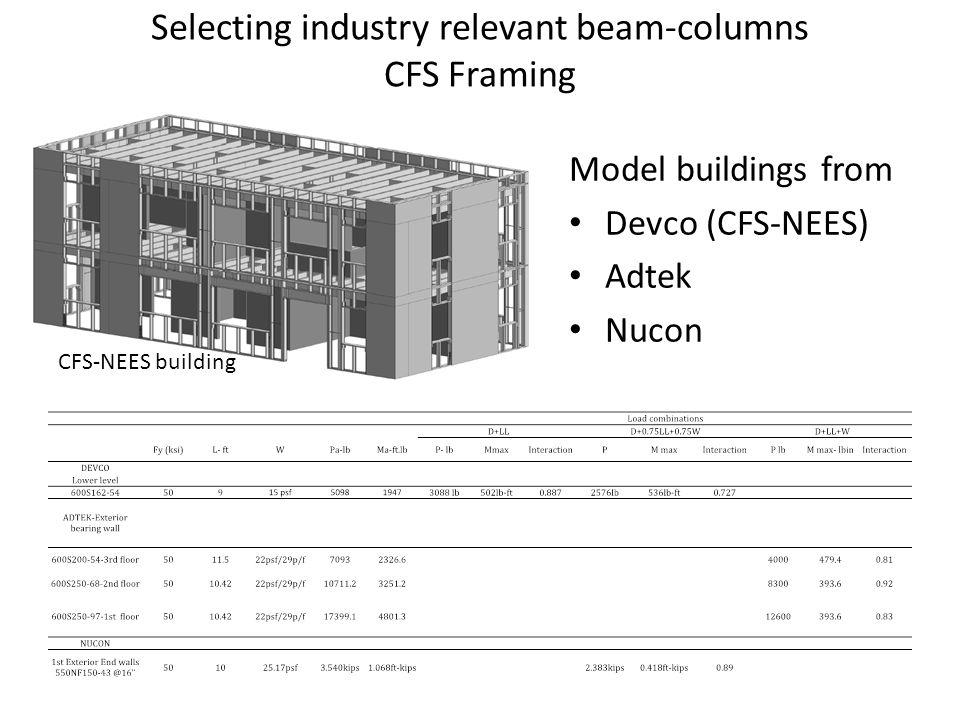 Selecting industry relevant beam-columns CFS Framing Model buildings from Devco (CFS-NEES) Adtek Nucon CFS-NEES building