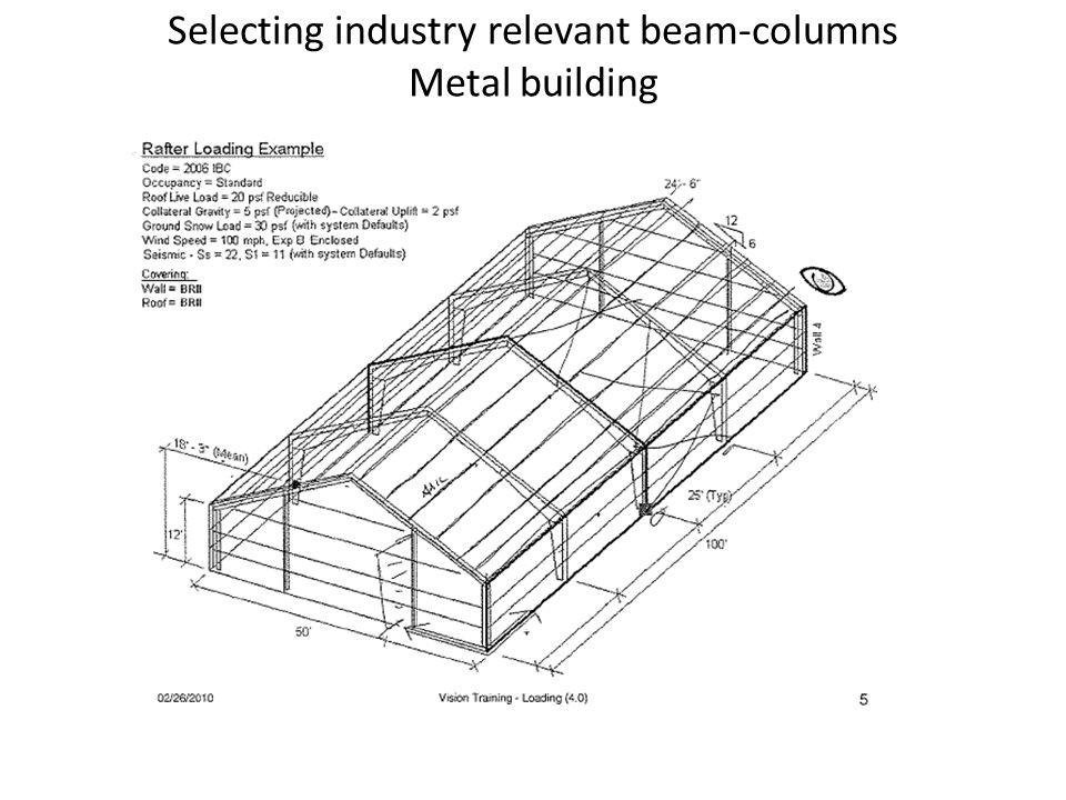 Selecting industry relevant beam-columns Metal building