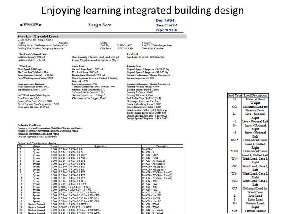 Enjoying learning integrated building design