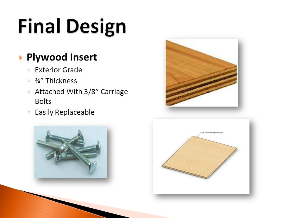 Plywood Insert Exterior Grade ¾ Thickness Attached With 3/8 Carriage Bolts Easily Replaceable