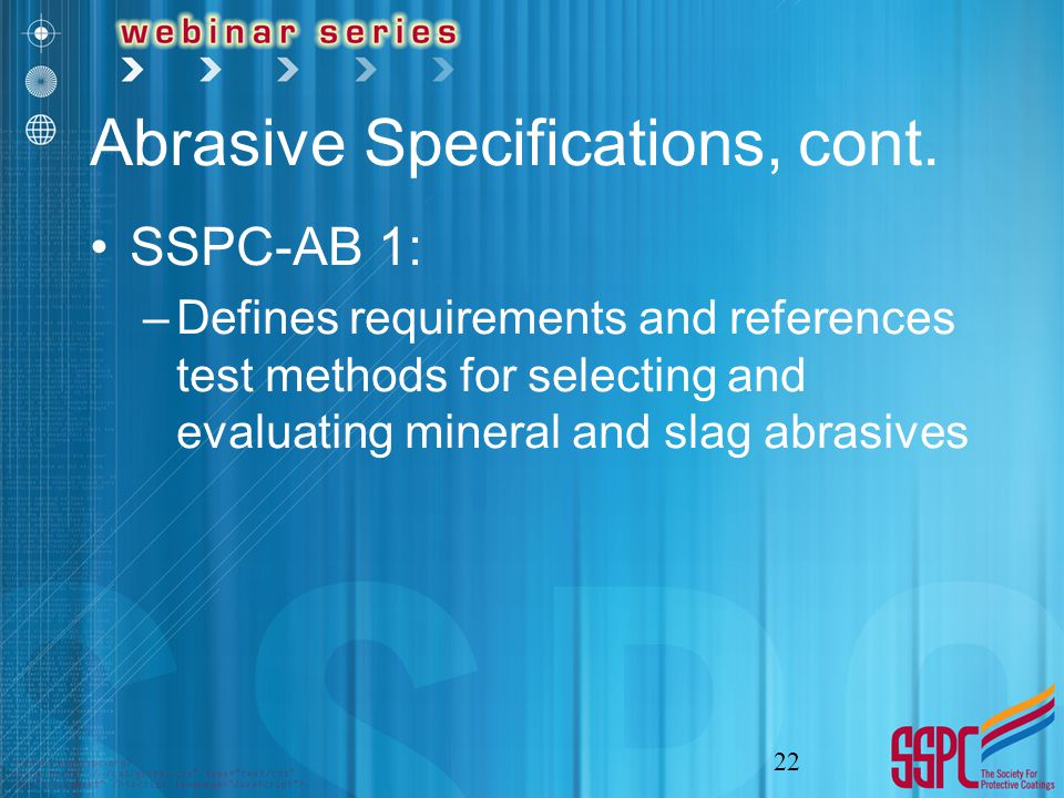 Abrasive Specifications, cont.