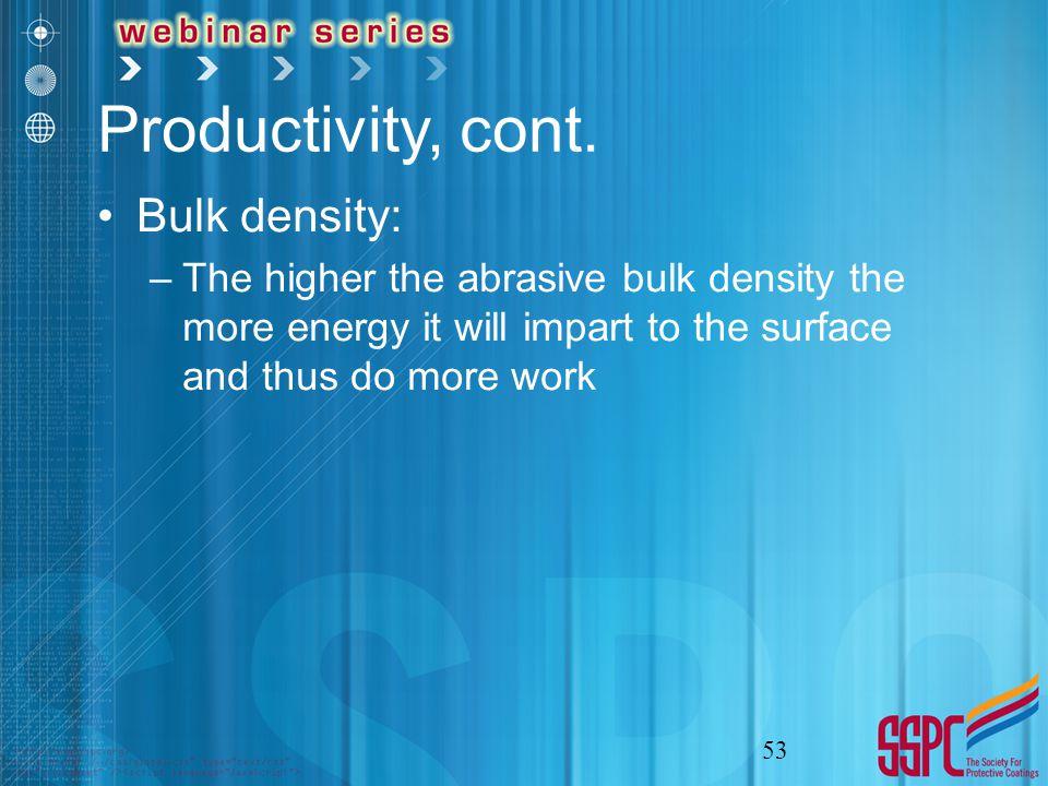 Productivity, cont.