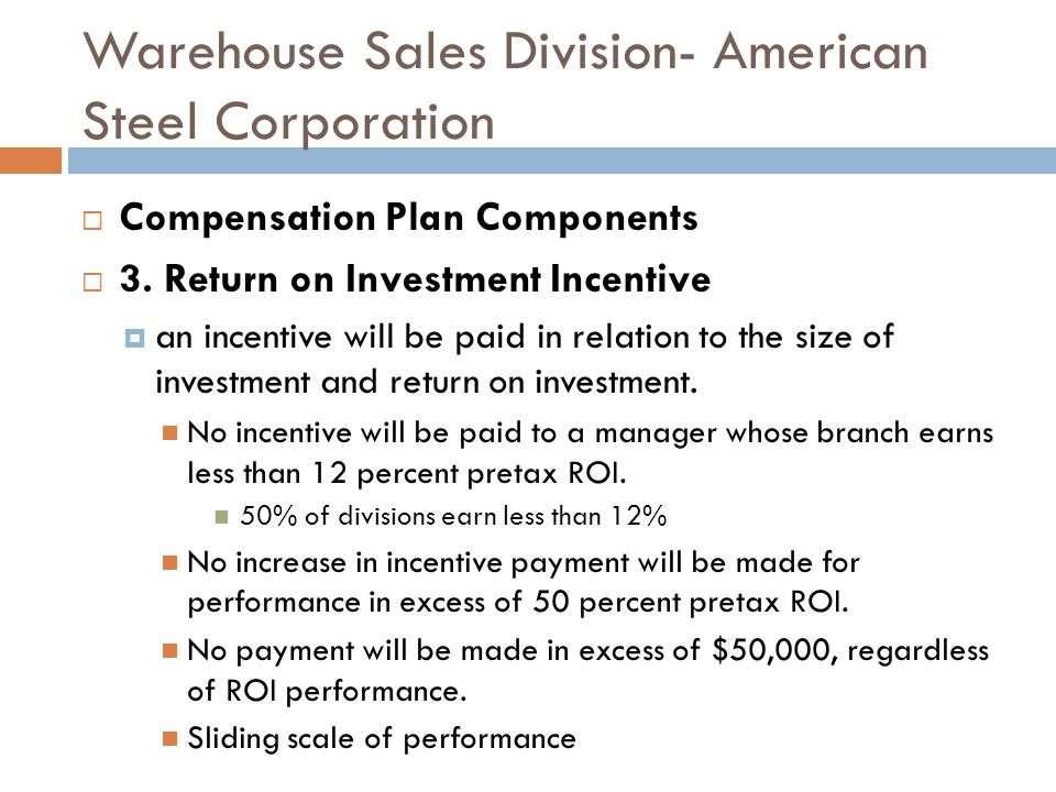 Warehouse Sales Division- American Steel Corporation Compensation Plan Components 3.
