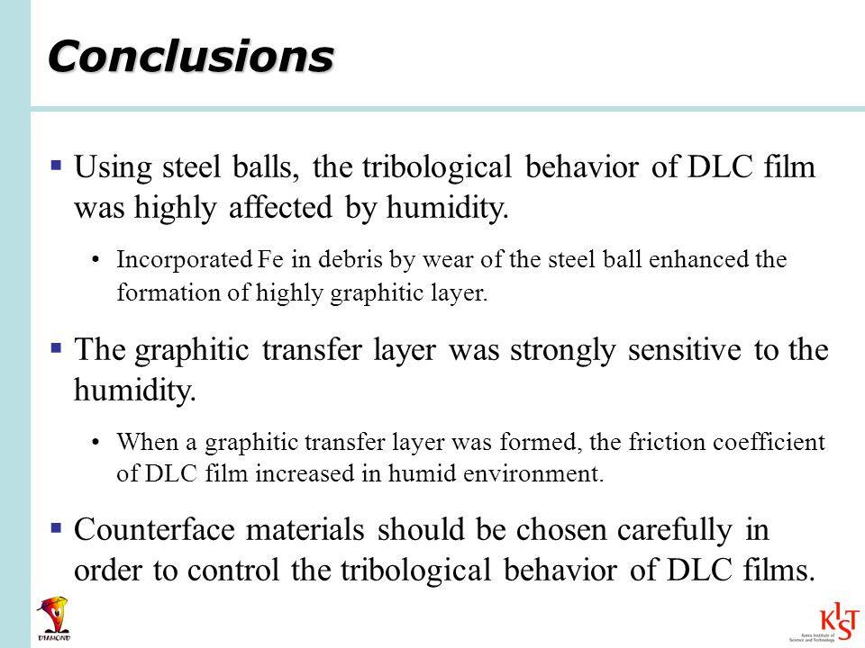 Conclusions Using steel balls, the tribological behavior of DLC film was highly affected by humidity.