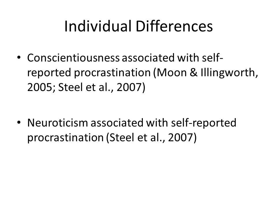 Individual Differences Conscientiousness associated with self- reported procrastination (Moon & Illingworth, 2005; Steel et al., 2007) Neuroticism ass