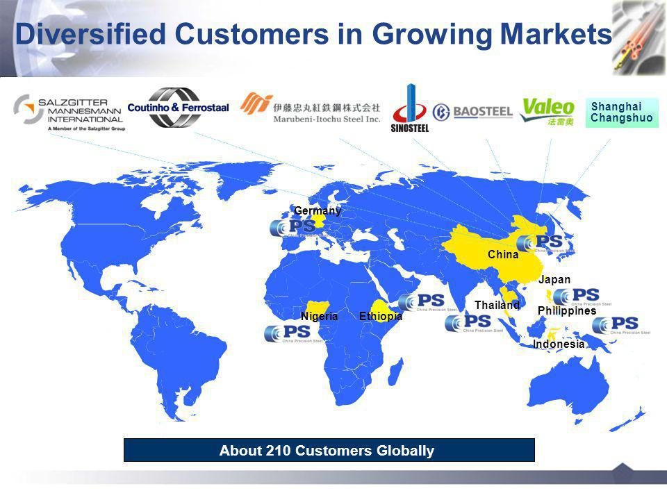 China Diversified Customers in Growing Markets Philippines Thailand Nigeria Indonesia Ethiopia Shanghai Changshuo 15 About 210 Customers Globally Germany Japan