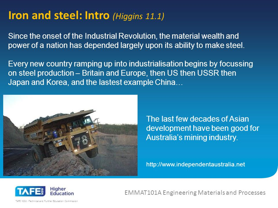 TAFE NSW -Technical and Further Education Commission Iron and steel: Intro (Higgins 11.1) EMMAT101A Engineering Materials and Processes China now dominates steel production – almost half the worlds production!