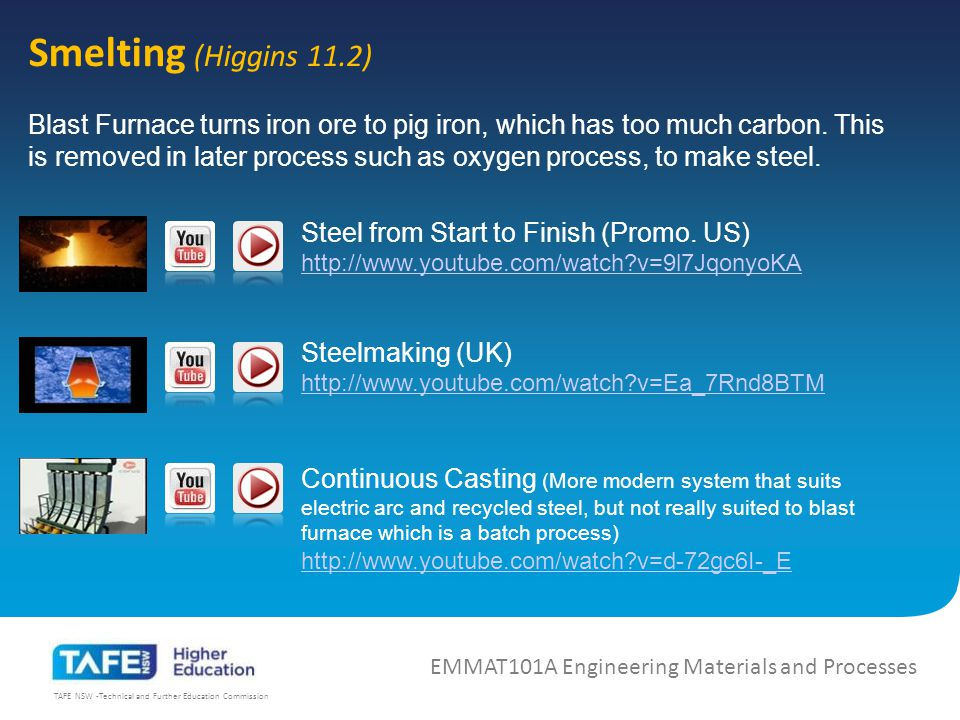 TAFE NSW -Technical and Further Education Commission Smelting (Higgins 11.2) EMMAT101A Engineering Materials and Processes Blast Furnace turns iron ore to pig iron, which has too much carbon.
